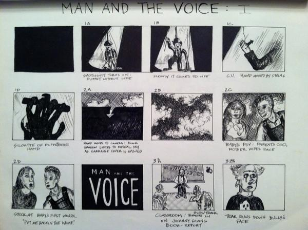 "Storyboards for ""Man and The Voice"""