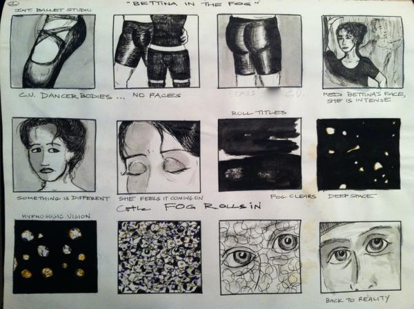 "Storyboards for ""Bettina in the Fog"""
